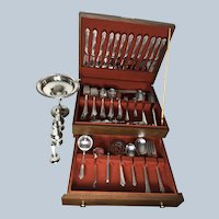 Eloquent Heirloom Damask Rose Pattern Sterling Silver Flatware Holloware Set