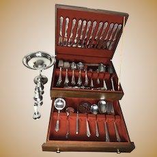 Eloquent Heirloom Damask Rose Pattern Sterling Silver Flatware Holloware Set