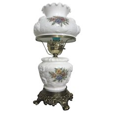 Eloquent Electrified Hurricane Lamp with Roses Design