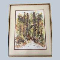 "Original Enid Petersen Watercolor Painting ""The Woods"" 1968"