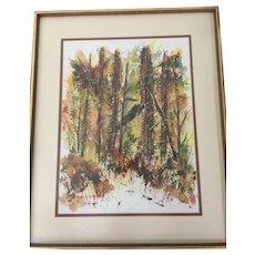 """Original Enid Petersen Watercolor Painting """"The Woods"""" 1968"""