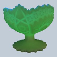 Fenton Uranium Art Glass Footed Bowl