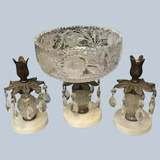 Beautiful Glass Crystal Compote & Candleholder Set