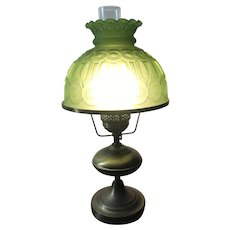 Brass Hurricane Lamp with Lime Green Lifesaver Glass Shade