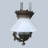 Beautiful Cast Iron & Milk Glass Hanging Oil Lamp