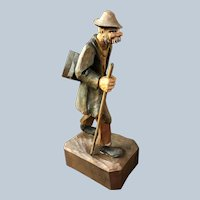 Hiking Man With Accordion Wood Carving