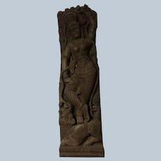 Beautiful Wood Carving of Hindu Goddess Ganga