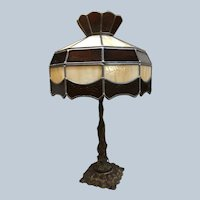 H.A. Best Brass Lamp Base with Other Leaded Glass Shade