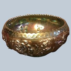 Outstanding Imperial Carnival Glass Bowl Iridescent Gold and Green with Roses
