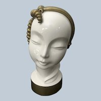 Stylish 1930s Art Deco Kent Art Ware Japan Ceramic Head Bust, White with Gold Hair