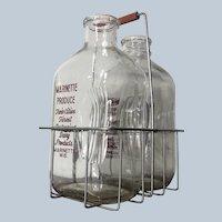2 Vintage Half Gallon Milk Bottles in Carrier - Marinette Produce, Inc Wisconsin Dairy