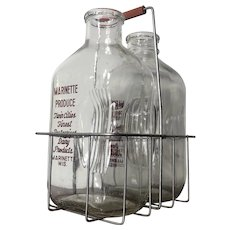 2 Vintage Half Gallon Milk Bottles in Carrier - Marinette Produce, Inc Wisconsin Dairy