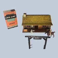 Vintage Louis Marx Western Ranch Set Tin Litho Bunkhouse Plastic Figures & Parts