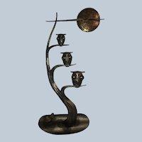 Beautiful Brutalist MCM Metal Owl Sculpture