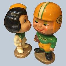 Rare 1960s Green Bay Packers Football Kissing Boy & Girl Nodders Bobbleheads