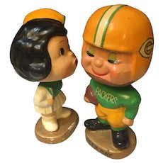 Rare 1960s Green Bay Packers Football Kissing Boy & Girl Nodders Bobbleheads