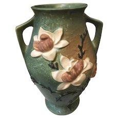 "1940s Roseville Pottery USA 97 - 14"" Magnolia 2 Handle Bowl"