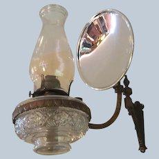 Scovill Mfg Queen Anne Kerosene Hurricane Lamp With Bronze Wall Mount