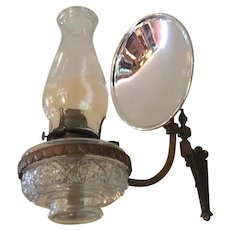 Scovill Mfg Queen Anne Kerosene Hurricane Lamp With Bronze Wall Mount