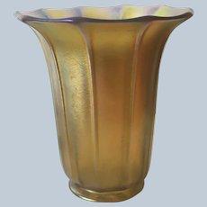 """Signed Steuben Aurene Iridescent Art Glass Ribbed Light Shade 6"""" Tall"""
