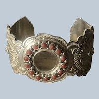 Navajo Sunshine Reeves Sterling Silver Mediterranean Coral Cuff Bracelet Watchband
