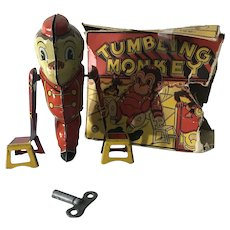 1950s Marx Tumbling Monkey Wind-up Tin Litho Toy