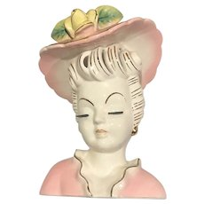 Thames Japan Ceramic Head Vase Stylish Lady Pretty in Pink
