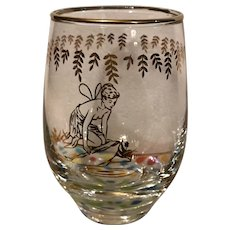 Set of 6 1950s White Rock Sparkling Beverage Glasses Painted Gold Nymph
