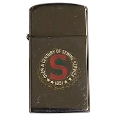 1963 Zippo Slim Lighter with Singer Sewing Label