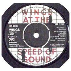 Paul McCartney and Wings Let Em In & Beware My Love Stereo Vinyl Single Parlophone R 6015 1976