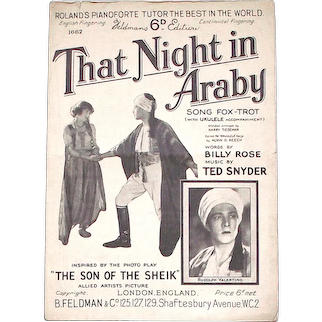 Rudolph Valentino The Son of the Sheik Sheet Music That Night in Araby 1926