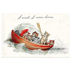 Louis Wain Cats Postcard I Wish I Were Home Raphael Tuck Write Away Series No 957 circa 1905