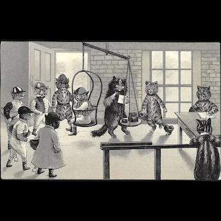 Louis Wain Jockeys Weighing-In Cats Postcard Used circa 1905
