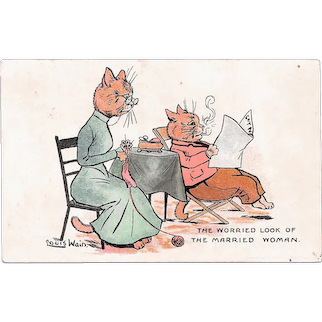 Louis Wain Cats Postcard The Worried Look of The Married Woman Used Postcard 1907