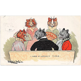Louis Wain Cats Postcard I Had A Lovely Time Used Postcard Davidson Brothers Picture Post Cards Series 1905