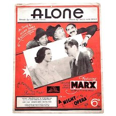 The Marx Brothers A Night At The Opera Rare Film Sheet Music 'Alone' 1935