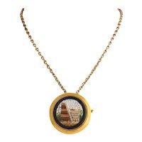 Russian Micro-Mosaic Gold-Mounted Pin/Pendant by Nicholls & Plinke, 1880s