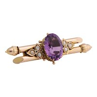 Russian Gold Amethyst and Pearl Pin, circa 1900
