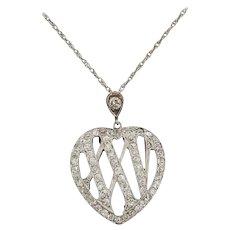 1910 Edwardian Diamond Gold Platinum 25th Anniversary Pendant