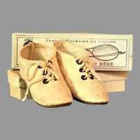 Antique German Character Doll Cream Kid Lace-Up Shoes Size 7