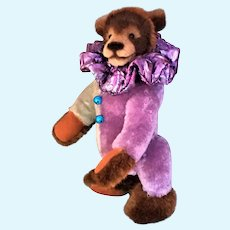 "RUST CLOWNY OOAK 10"" Airbrushed Bear by Arlene Anderson, Lexington Bear Co. US"