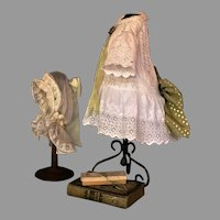"""Precious Antique Swiss White Work Dress and Delicate Tulle Coif for 23""""-25' French Bebe or Exquisite Dolly Face German Bisque"""