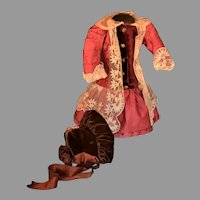 Charming Walking Outfit for Cabinet Size French Bébé early 1900's