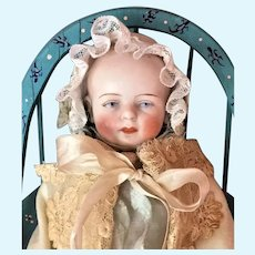 """All Bisque Beautiful KESTNER (circa 1895) Baby Boy In Original Christening outfit (6"""")"""
