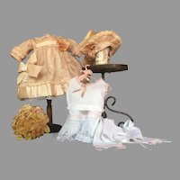 """Delightful French Bébé 15-17"""" Antique Blush Afternoon Dress, Beret and Full Set of Pretty Underpinnings 1880s"""