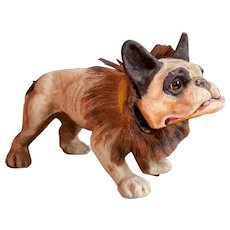 Incredible carton mache French bulldog growling pull toy!