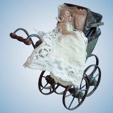 Wonderful rare French miniature doll carriage circa 1880