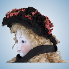 Perky Black Tulle Bonnet with Deep Coral Flowers for Large Fashion Poupée (ca 1885)
