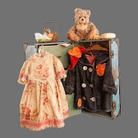 Steamer Trunk Circa 1916 with Trousseau and Toys for 30 inch German Character Doll