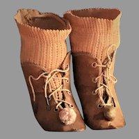 Original ALART Bottines and Socks (1880s) for French Bébés